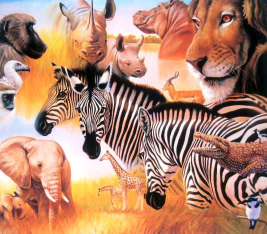 Africa Montage - Giclee Canvas - 18.5 x 16.5