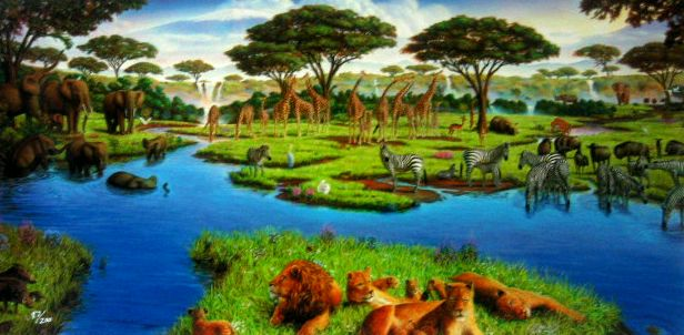 African Watering Hole -Giclee Canvas - 26.5 x 16.5