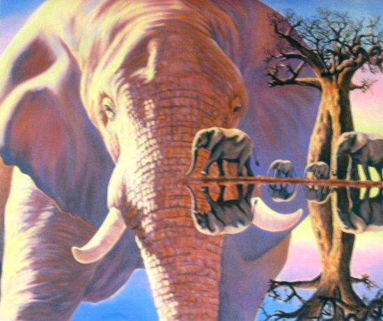 Elephant Reflections - Giclee Canvas -20x18