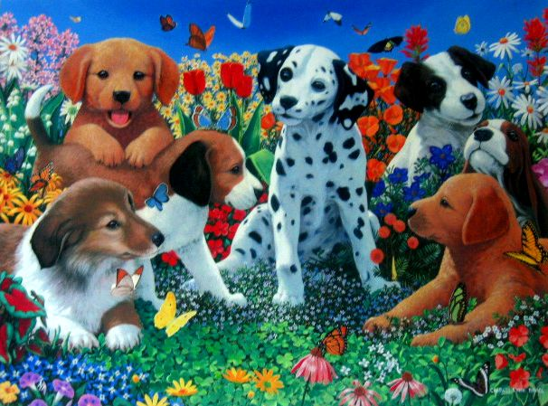 Puppies Garden - Giclee Canvas - 33x25.5